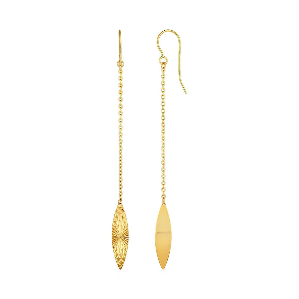 Textured Marquise Shaped Long Drop Earrings in 14k Yellow Gold