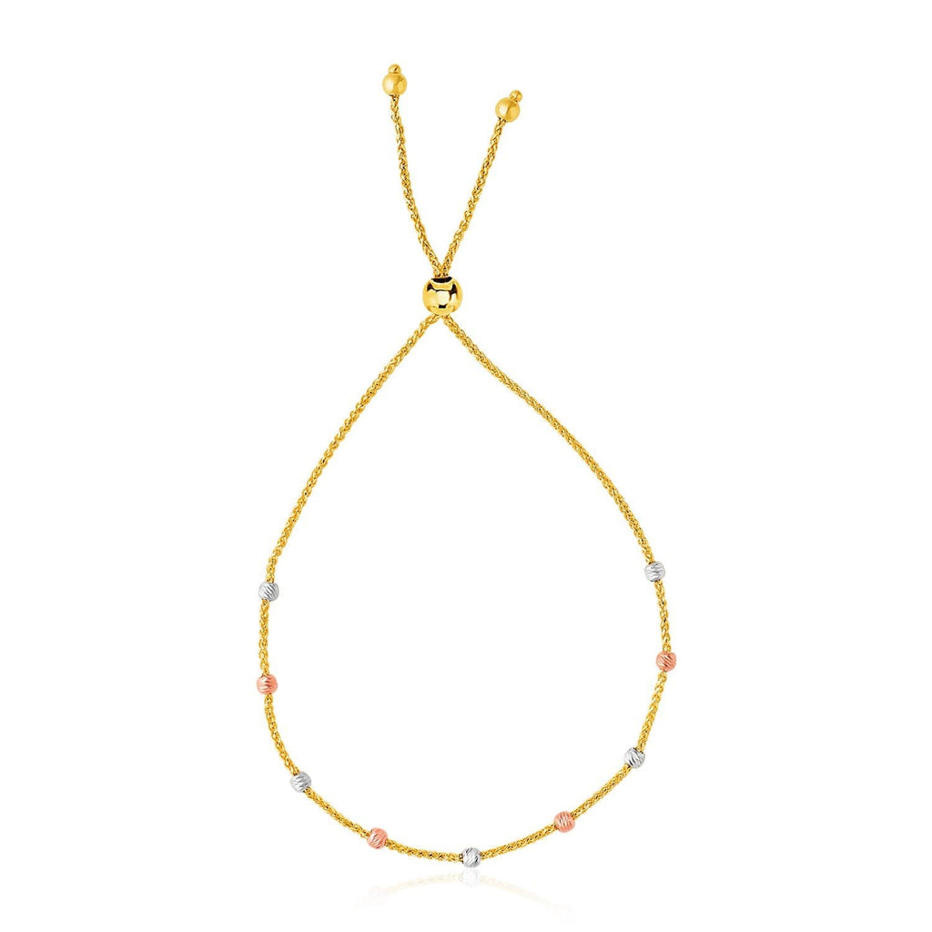 14k Tri-Color Gold Textured Bead Station Lariat Bracelet