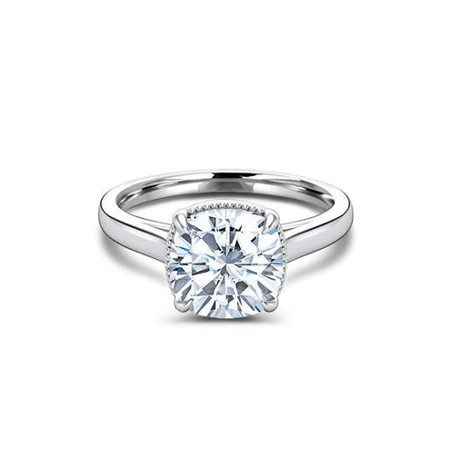 2 CT Cushion Cut Forever One Moissanite Solitaire Engagement Ring
