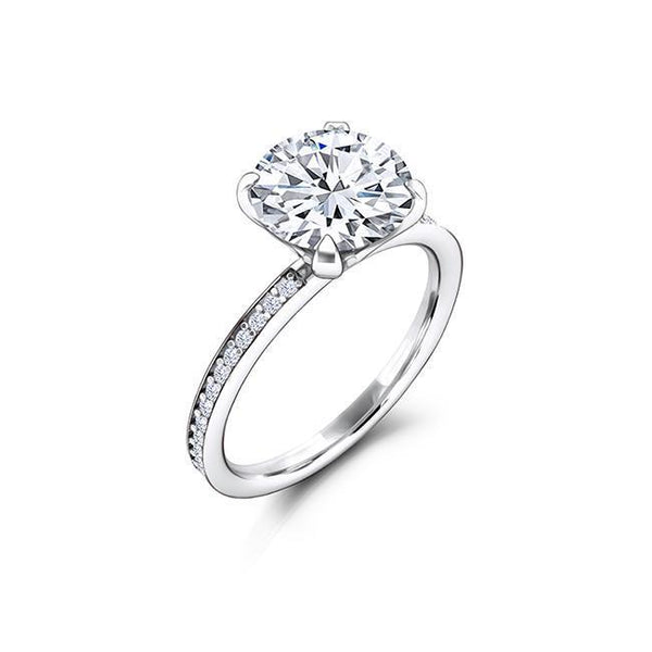 1.25 CT Round Cut Forever One Moissanite and Diamond Engagement Ring