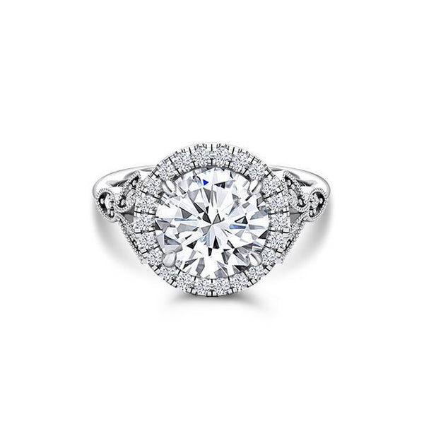 Forever One Round Moissanite Diamond Halo Antique Engagement Ring