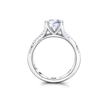 1.5 CT Round Forever One Moissanite Pave Diamond Engagement Ring