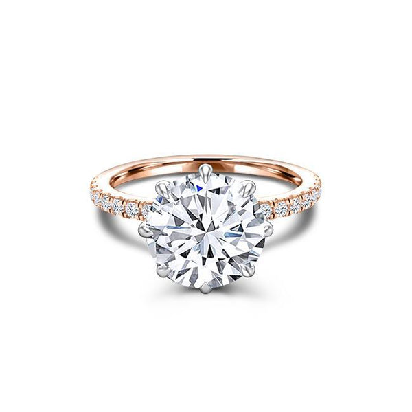 2.25 CT Round Cut Forever One Moissanite Diamond Engagement Ring