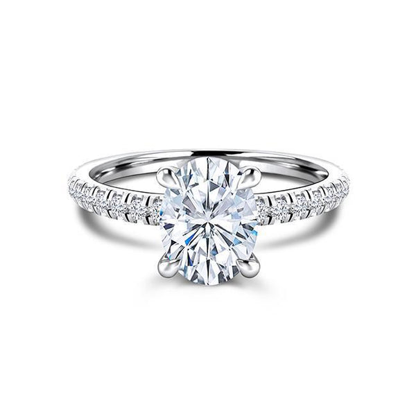 Zaven Slim Band Ring with Oval Diamond