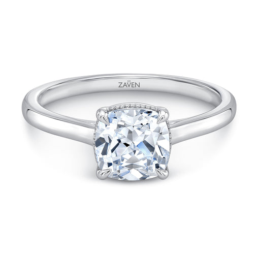 Zaven Solitaire Ring with Cushion Diamond