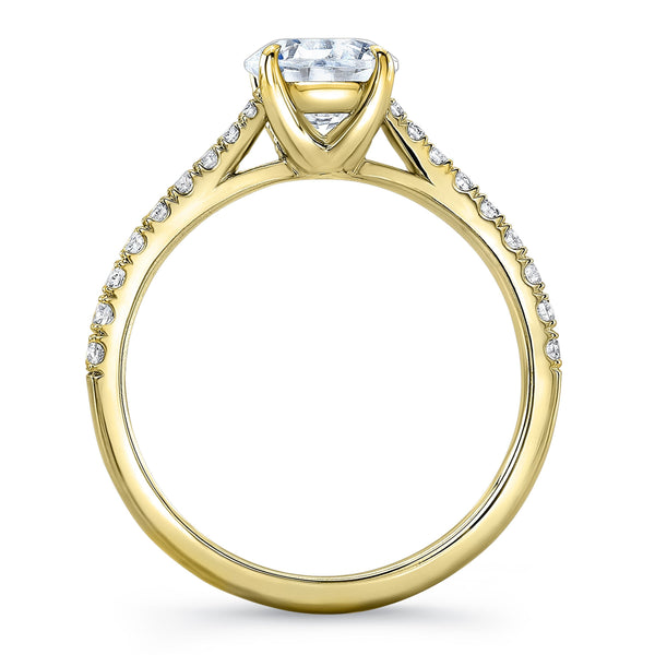 Zaven Tapered Pave Ring with Round Diamond