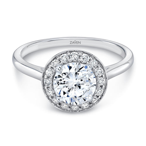 Zaven Pave Halo Ring with Round Diamond