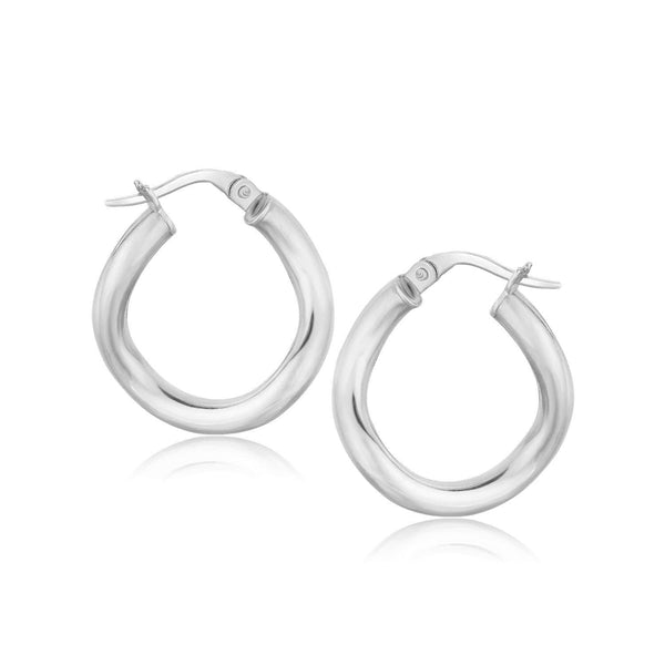 14K White Gold Italian Twist Hoop Earrings (5/8 inch Diameter)
