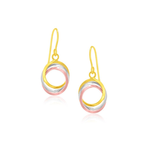 14K Tri-Color Gold Open Entwined Ring Earrings