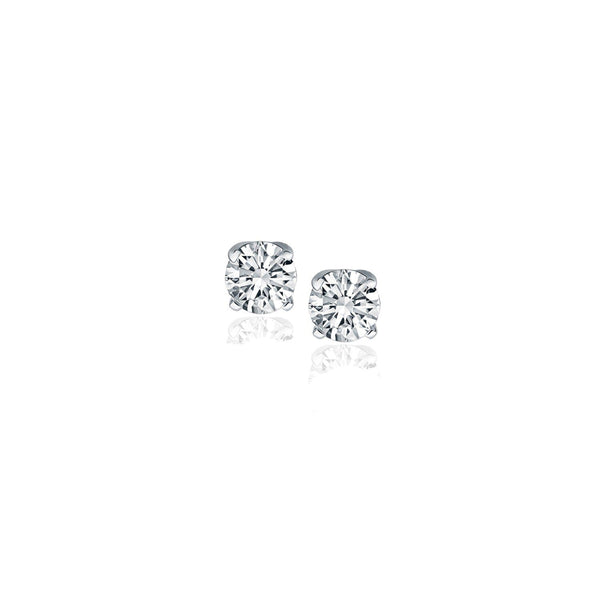 1/4 CT TW Diamond 14K White Gold Four Prong Classic Stud Earrings