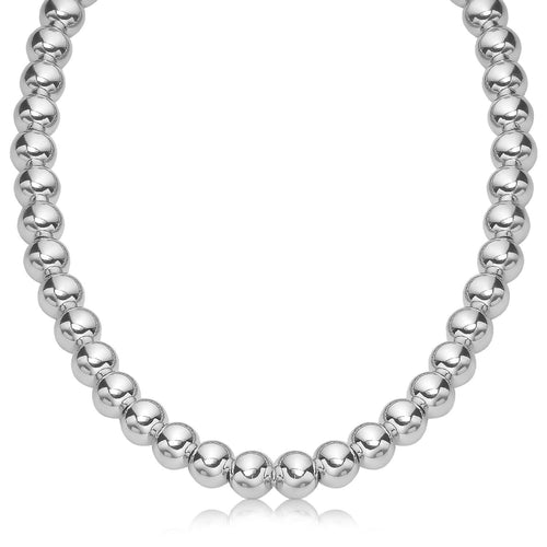 Sterling Silver Polished Bead Necklace with Rhodium Plating (10 mm)