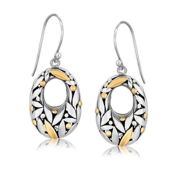 18K Yellow Gold and Sterling Silver Graduated Dangle Earrings with Leaf Motifs