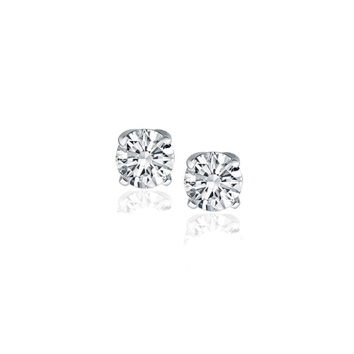 1/2 CT TW Diamond 14K White Gold Four Prong Classic Stud Earrings
