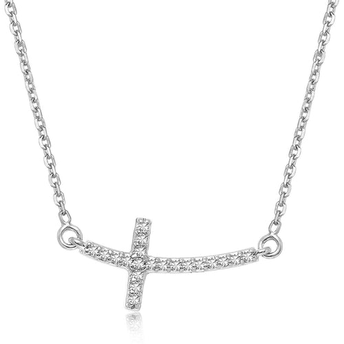 14K White Gold Curved Cross Diamond Studded Necklace