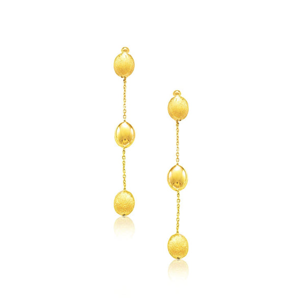 14K Yellow Gold Textured and Shiny Pebble Dangle Earrings