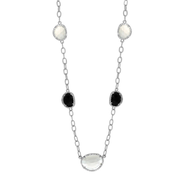 Sterling Silver Diamond Accented Moonstone and Black Onyx Necklace