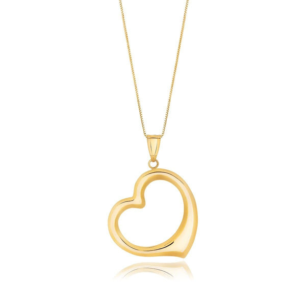 14K Yellow Gold Floating Heart Drop Pendant Necklace