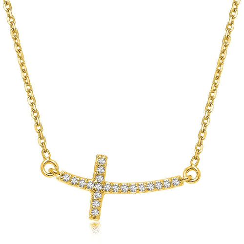 14K Yellow Gold Diamond Accented Curved Cross Necklace