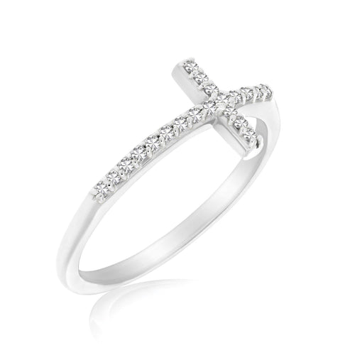 14K White Gold Cross Motif Ring with Diamond Accents