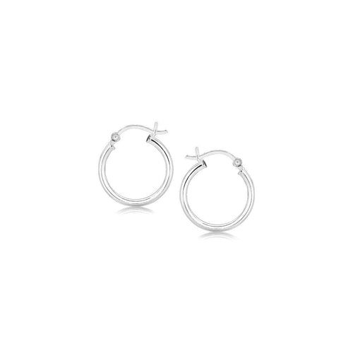 Polished Sterling Silver and Rhodium Plated Hoop Earrings (15mm)