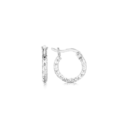 Sterling Silver Rhodium Plated Faceted Design Small Hoop Earrings