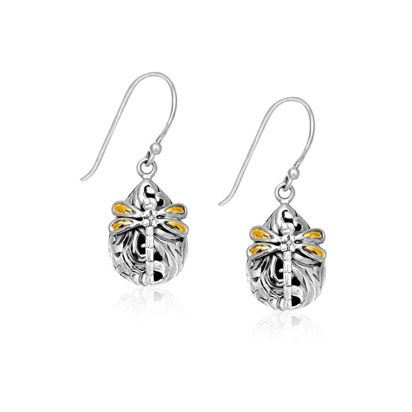 18K Yellow Gold and Sterling Silver Teardrop Dragonfly Earrings