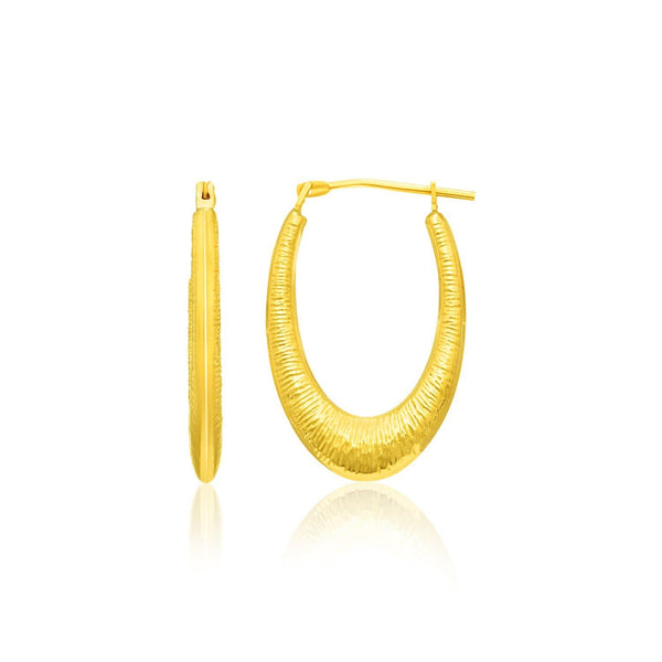14K Yellow Gold Hoop Earrings in a Graduated Texture Style