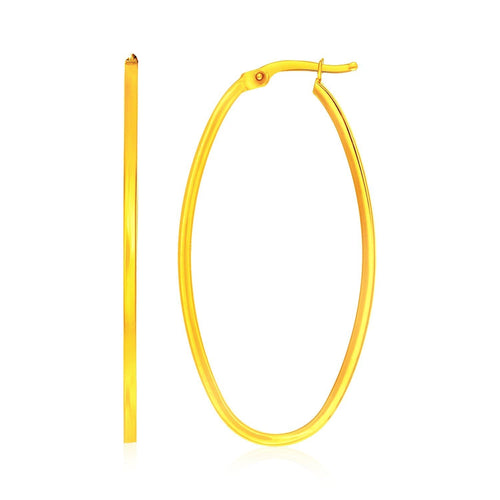 14K Yellow Gold Slim Oval Shape Hoop Earrings