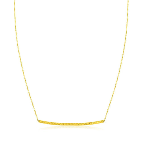 14K Yellow Gold Thin Textured Bar Necklace
