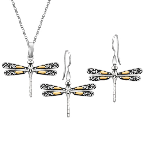 Dragonfly Necklace & Earrings Set