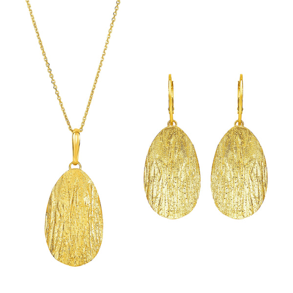 Oval Wooden Textured Necklace & Earrings Set