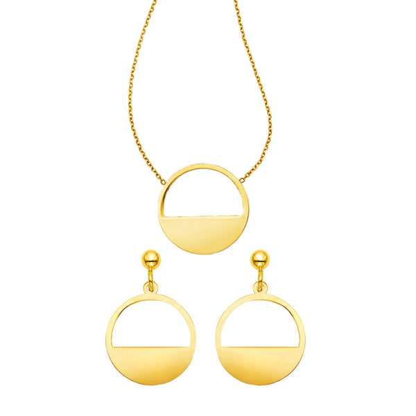Golden Eclipse Necklace & Earrings Set