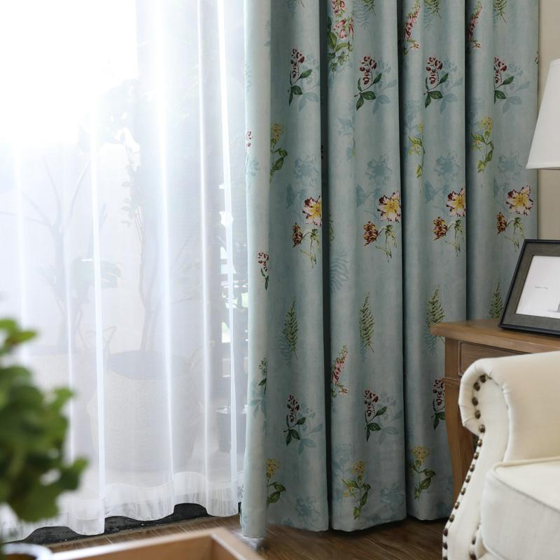 Customized Light Blue Blackout Kitchen Curtains Panels For Living Room Part 95