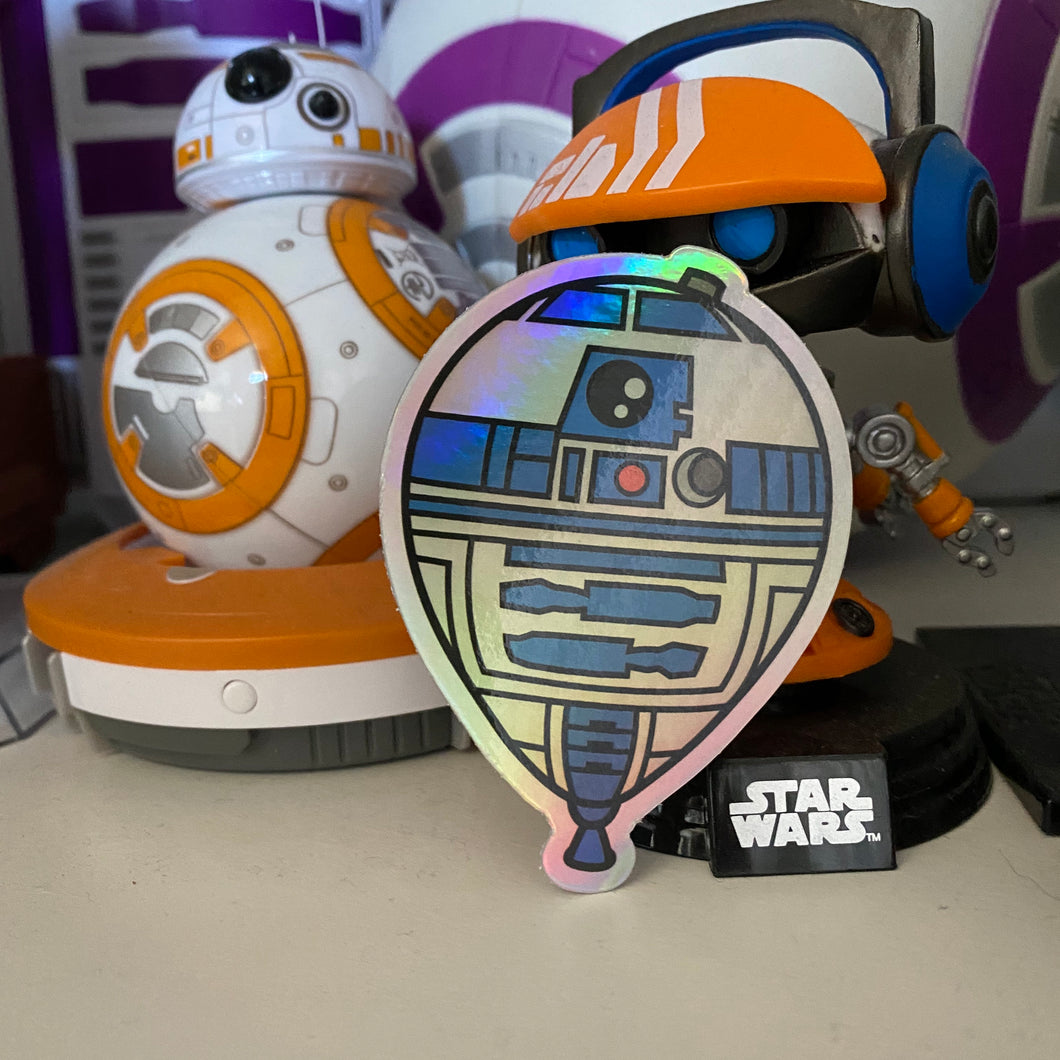 Droid Balloon holographic vinyl sticker