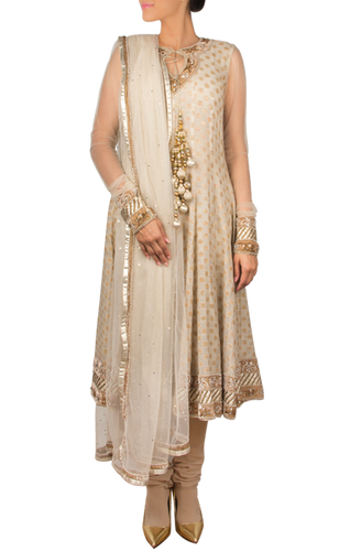 Ochre Anarkali Set with Embroidered Body