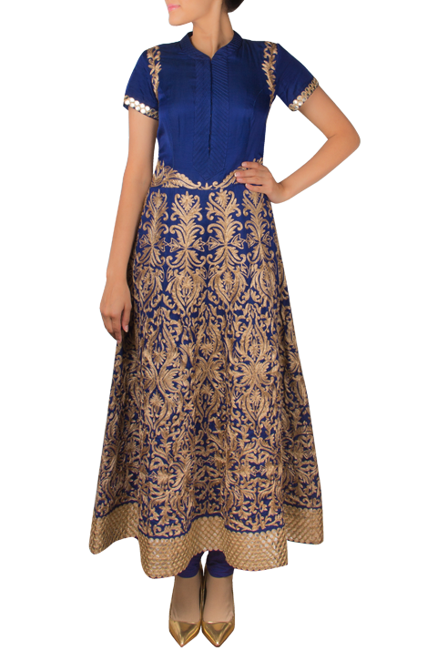 Blue Full Length Embroided Anarkali