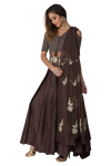 Ash Grey Anarkali with Embroidered Bodice
