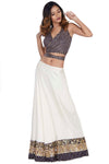 Purple wrap around halter blouse and lehenga