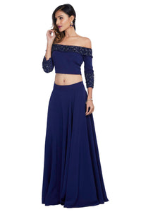Blue Off-Shouldered Crop Top with Skirt