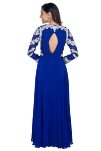 Royal Blue Embroidered Full Sleeve Gown