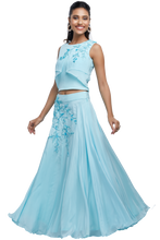Baby Blue Crop Top and Skirt