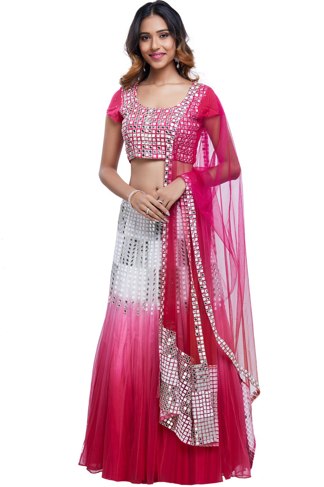 Pink and White Shaded Mirror Lehenga Set