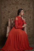 Red Embroidered Full Length Anarkali