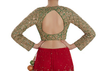 Red, Green and Orange Lehenga set