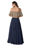Dark blue cape lehenga