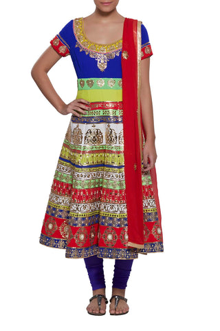 Multi Colour Tiered Anarkali Set