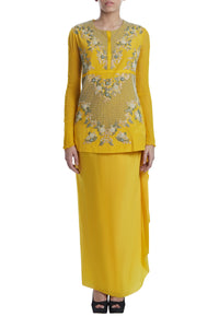 Yellow Embroidered Top on Draped Skirt