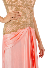 Baby pink pearl embroidered concept sari