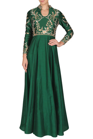 Bottle Green Dori Work Anarkali Gown