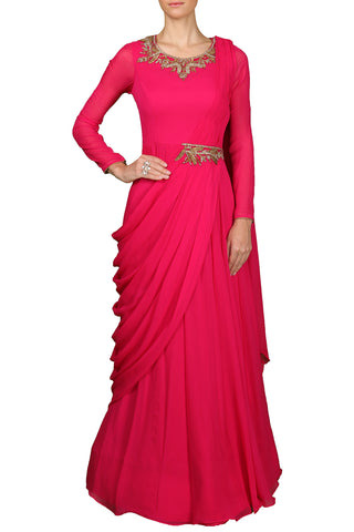 Magenta Draped Anarkali Gown